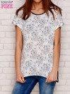 Jasnoszary t-shirt w kwiaty                                  zdj.                                  1