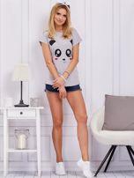 Jasnoszary t-shirt z pandą                                  zdj.                                  4