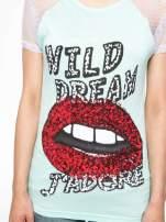 Jasnozielony t-shirt z ustami z cekinów i rękawami z siateczki                                  zdj.                                  7