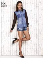 Jeansowa koszula z tiulowymi rękawami                                                                          zdj.                                                                         2
