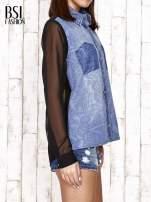 Jeansowa koszula z tiulowymi rękawami                                                                          zdj.                                                                         3