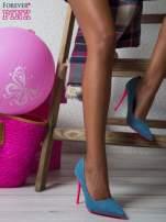 Jeansowe szpilki na różowym obcasie                                                                          zdj.                                                                         1