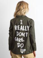 Khaki bawełniana kurtka oversize z napisem                                  zdj.                                  2