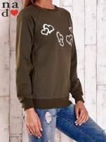 Khaki bluza z motywem serduszek
