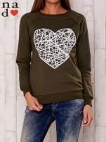 Khaki bluza z nadrukiem serca