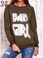 Khaki bluza z napisem BAD GIRL                                  zdj.                                  1