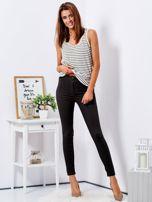 Khaki dopasowane spodnie high waist                                  zdj.                                  4
