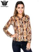 Khaki koszula w etniczne wzory z kieszonką                                  zdj.                                  1