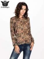 Khaki koszula w kwiatowe ornamenty                                  zdj.                                  1