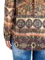 Khaki koszula w witrażowy wzór                                                                          zdj.                                                                         7