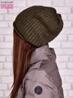 Khaki prążkowana czapka