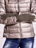 Khaki rękawiczki z błyszczącą nicią z wywijanym mankietem                                                                          zdj.                                                                         2