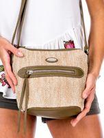 Khaki torebka damska z plecionym modułem                                  zdj.                                  2