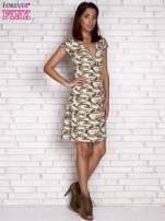 Khaki wiązana sukienka w militarnym stylu Funk n Soul                                  zdj.                                  4