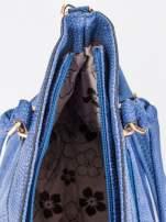 Kobaltowa torba na ramię ze złotymi okuciami                                                                          zdj.                                                                         8
