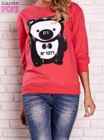 Koralowa bluza z nadrukiem pandy                                                                          zdj.                                                                         1