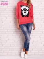 Koralowa bluza z nadrukiem pandy                                  zdj.                                  2
