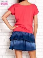 Limonkowa sukienka dresowa z jeansowym dołem                                                                          zdj.                                                                         4