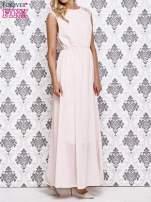 Koralowa sukienka maxi z koronkowym tyłem                                  zdj.                                  3