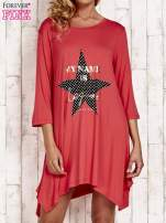 Koralowa tunika dresowa z printem gwiazdy                                                                          zdj.                                                                         1