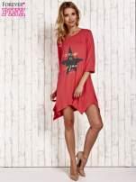 Koralowa tunika dresowa z printem gwiazdy                                  zdj.                                  2