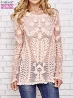 Koralowy ażurowy sweterek mgiełka                                  zdj.                                  1