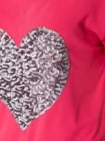 Koralowy t-shirt ze srebrnym sercem z cekinów                                  zdj.                                  7
