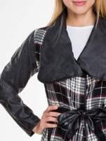 Kraciasty wełniany płaszcz ze skórzanymi rękawami                                  zdj.                                  5