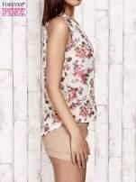 Kremowa bluzka koszulowa w róże                                  zdj.                                  4