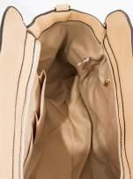 Kremowa torba z klamrami z odpinanym paskiem