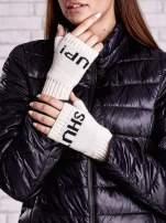 Kremowe rękawiczki bez palców z napisem SHUT UP!