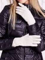 Kremowe rękawiczki z guzikami                                                                          zdj.                                                                         1