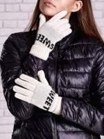 Kremowe rękawiczki z napisem SWEET i z wywijanym ściągaczem                                  zdj.                                  1