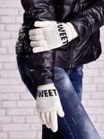 Kremowe rękawiczki z napisem SWEET i z wywijanym ściągaczem                                  zdj.                                  3