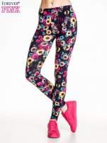Kwiatowe legginsy w kolorze różowym                                  zdj.                                  1