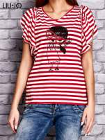 LIU JO Czerwony t-shirt w paski z kobiecym nadrukiem                                  zdj.                                  1