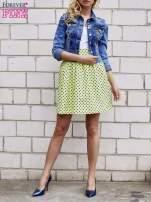 Limonkowa spódnica w grochy z plisami                                  zdj.                                  3