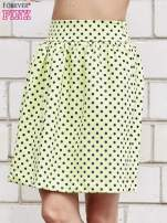 Limonkowa spódnica w grochy z plisami                                  zdj.                                  1
