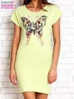 Jasnoróżowa sukienka z cekinowym motylem                                                                          zdj.                                                                         1