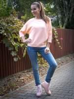 Łososiowa bluza oversize z łączonych materiałów                                  zdj.                                  9