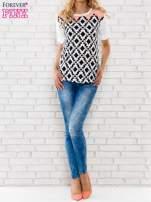 Łososiowa bluzka w azteckie wzory