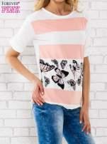 Łososiowa bluzka w pasy z motywem motyli                                  zdj.                                  2