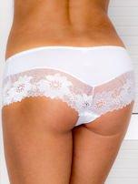 Majtki szorty damskie z koronką białe                                  zdj.                                  2