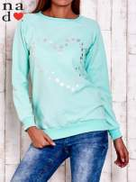 Miętowa bluza z wzorem serca                                  zdj.                                  1
