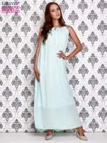 Miętowa sukienka maxi z wiązaniem przy dekolcie                                  zdj.                                  2