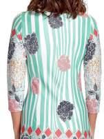 Miętowa sukienka w kwiatowe i geometryczne wzory                                  zdj.                                  5