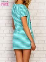 Miętowa sukienka w paski z napisem TIME IS UP                                  zdj.                                  5