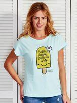 Miętowy t-shirt damski SZUKASZ PRZYGODY? by Markus P                                  zdj.                                  1
