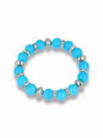 Niebieska Bransoletka koralikowa  z cyrkoniowymi przekładkami                                  zdj.                                  1