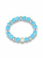 Niebieska Bransoletka koralikowa z kulką schamballa